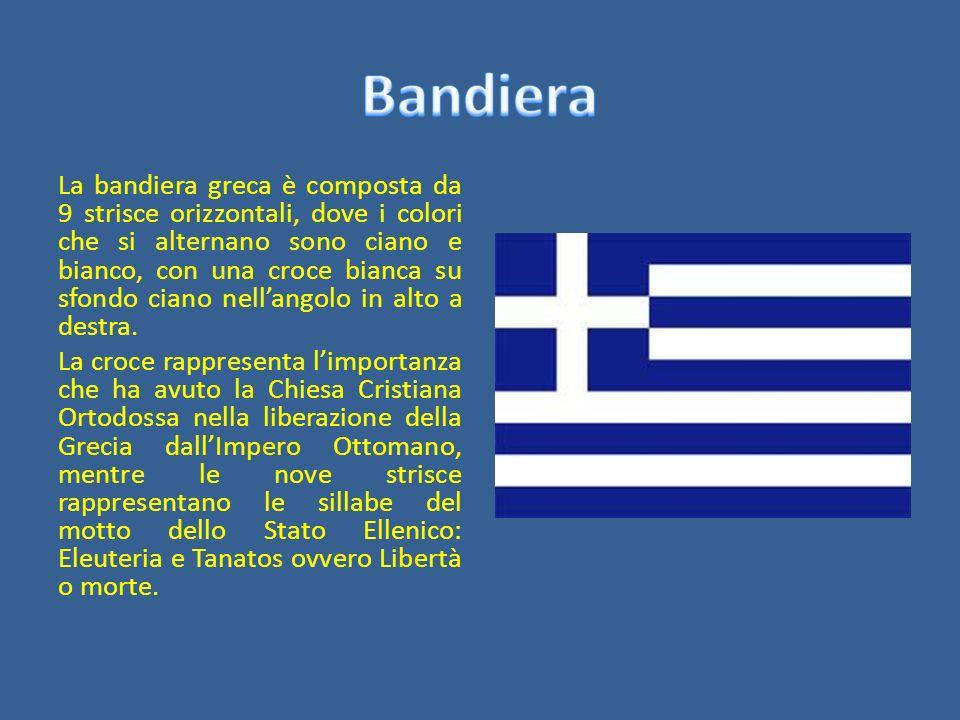 La bandiera greca è composta da 9 strisce orizzontali, dove i colori che si alternano sono ciano e bianco, con una croce bianca su sfondo ciano nellan