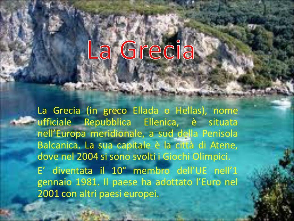 La Grecia (in greco Ellada o Hellas), nome ufficiale Repubblica Ellenica, è situata nellEuropa meridionale, a sud della Penisola Balcanica. La sua cap