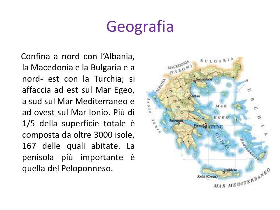 Geografia Confina a nord con lAlbania, la Macedonia e la Bulgaria e a nord- est con la Turchia; si affaccia ad est sul Mar Egeo, a sud sul Mar Mediter