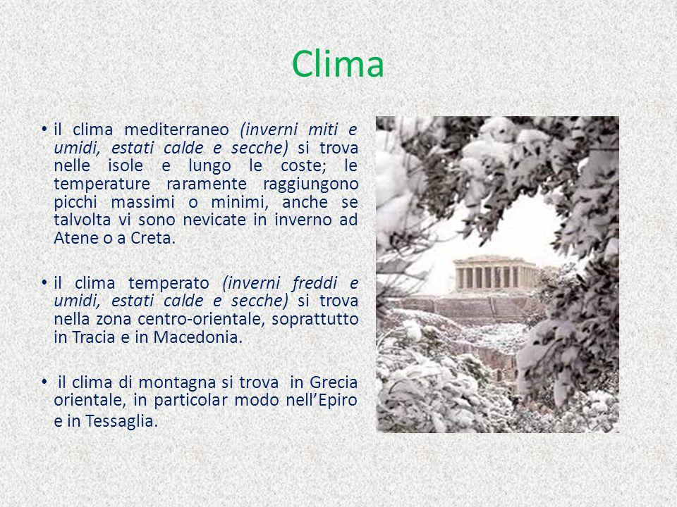 Clima il clima mediterraneo (inverni miti e umidi, estati calde e secche) si trova nelle isole e lungo le coste; le temperature raramente raggiungono