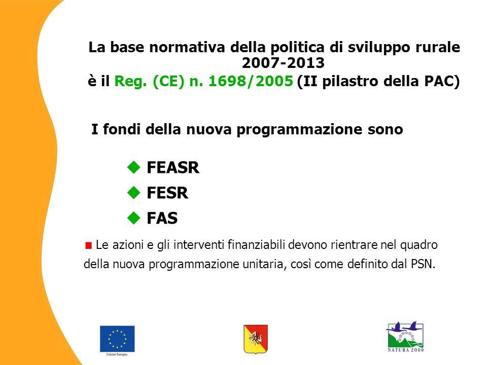 La base normativa della politica di sviluppo rurale 2007-2013 è il Reg.