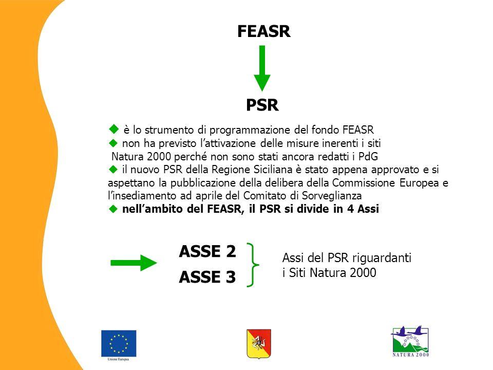 è lo strumento di programmazione del fondo FEASR non ha previsto lattivazione delle misure inerenti i siti Natura 2000 perché non sono stati ancora redatti i PdG il nuovo PSR della Regione Siciliana è stato appena approvato e si aspettano la pubblicazione della delibera della Commissione Europea e linsediamento ad aprile del Comitato di Sorveglianza nellambito del FEASR, il PSR si divide in 4 Assi FEASR PSR ASSE 2 ASSE 3 Assi del PSR riguardanti i Siti Natura 2000