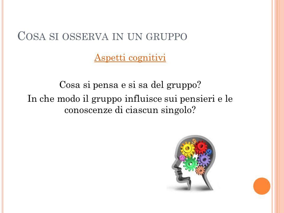 C OSA SI OSSERVA IN UN GRUPPO Aspetti cognitivi Cosa si pensa e si sa del gruppo? In che modo il gruppo influisce sui pensieri e le conoscenze di cias