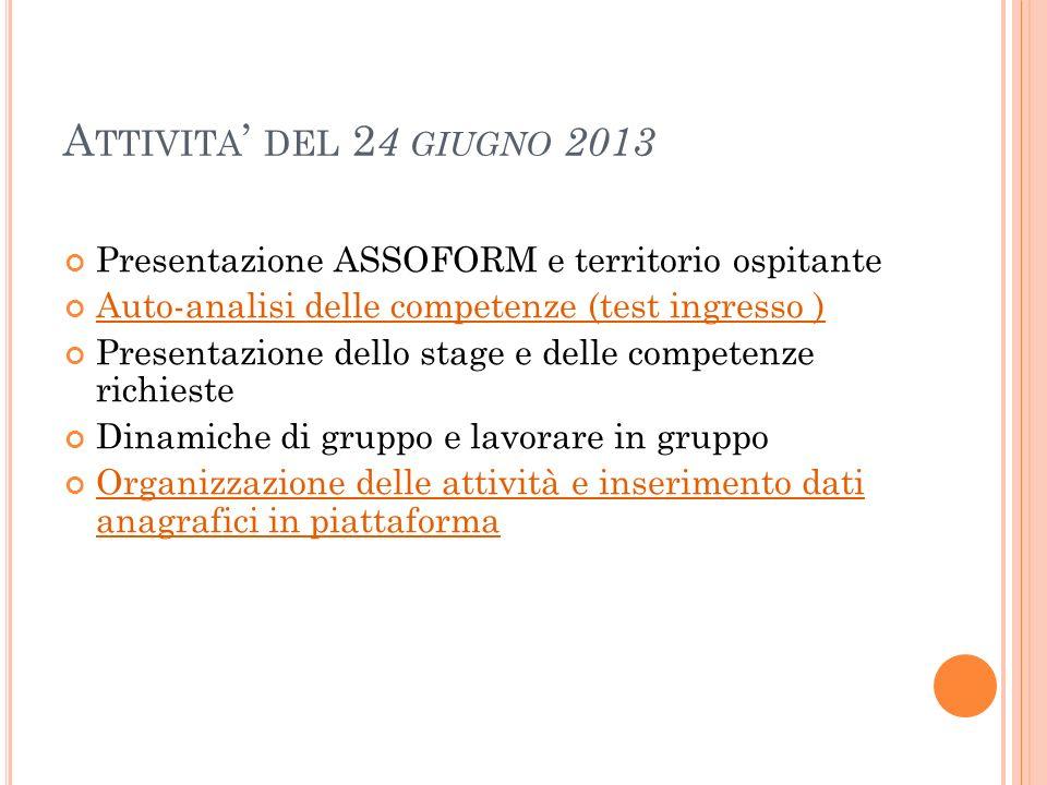 A TTIVITA DEL 2 4 GIUGNO 2013 Presentazione ASSOFORM e territorio ospitante Auto-analisi delle competenze (test ingresso ) Presentazione dello stage e