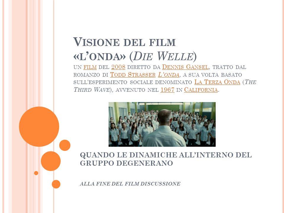V ISIONE DEL FILM « L ONDA » ( D IE W ELLE ) UN FILM DEL 2008 DIRETTO DA D ENNIS G ANSEL, TRATTO DAL ROMANZO DI T ODD S TRASSER L' ONDA, A SUA VOLTA B