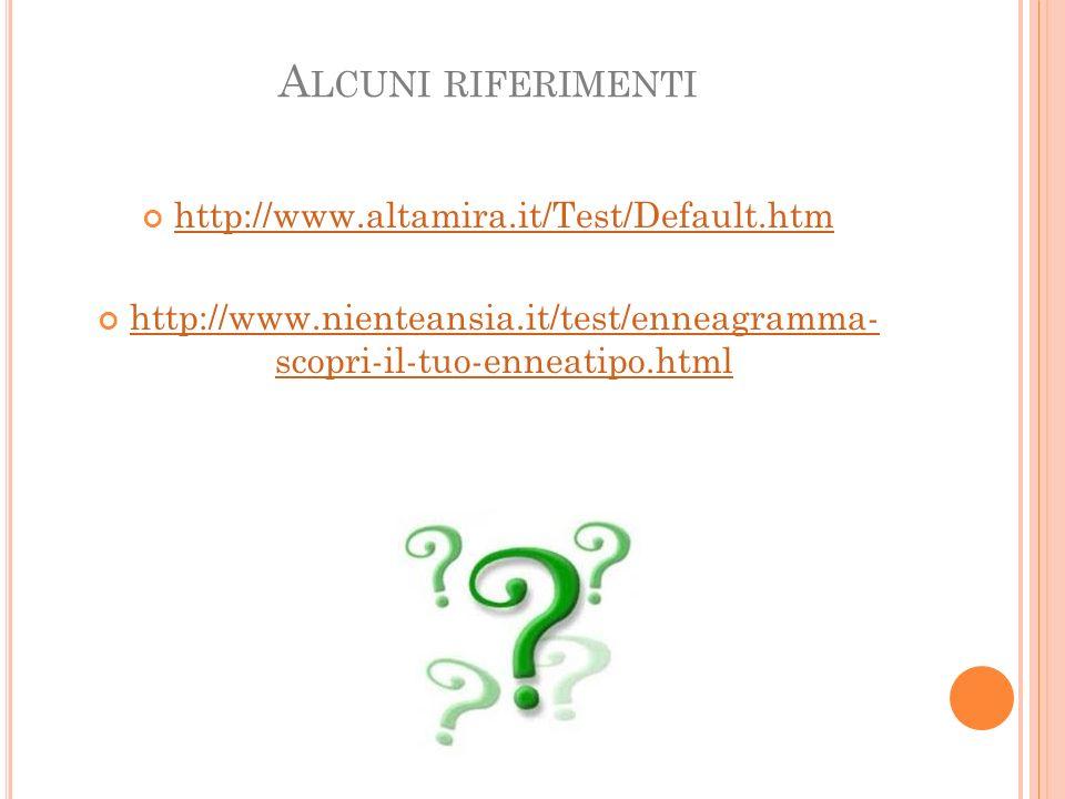 A LCUNI RIFERIMENTI http://www.altamira.it/Test/Default.htm http://www.nienteansia.it/test/enneagramma- scopri-il-tuo-enneatipo.html http://www.niente