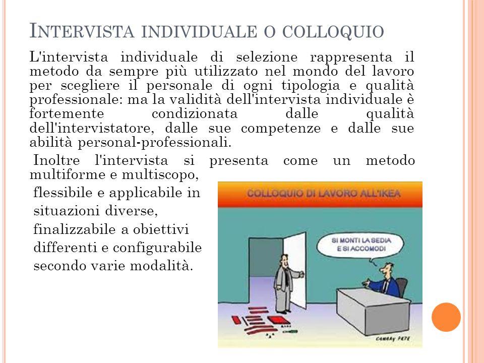 I NTERVISTA INDIVIDUALE O COLLOQUIO L'intervista individuale di selezione rappresenta il metodo da sempre più utilizzato nel mondo del lavoro per sceg