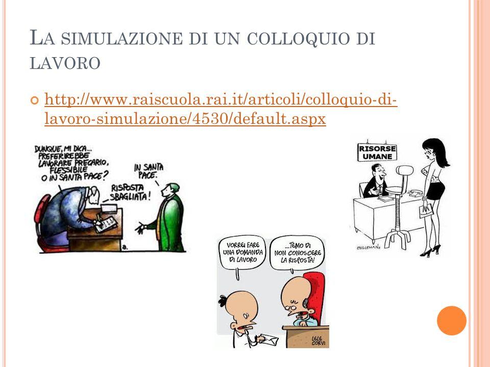 L A SIMULAZIONE DI UN COLLOQUIO DI LAVORO http://www.raiscuola.rai.it/articoli/colloquio-di- lavoro-simulazione/4530/default.aspx http://www.raiscuola