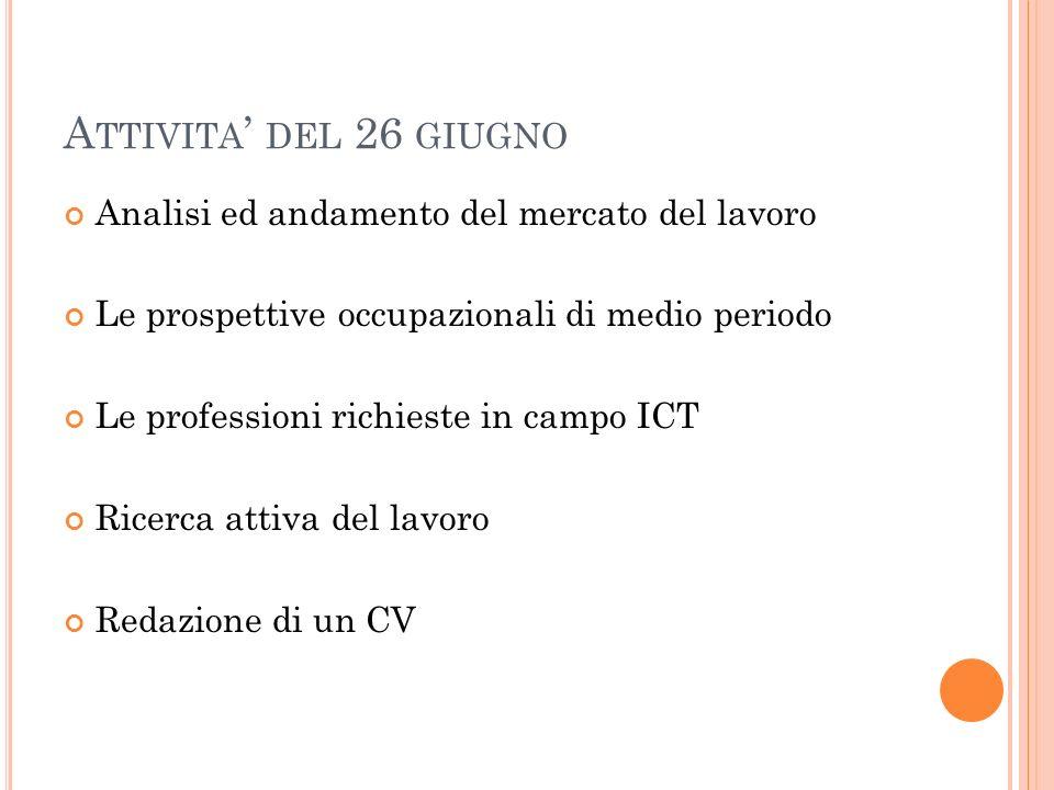 A TTIVITA DEL 26 GIUGNO Analisi ed andamento del mercato del lavoro Le prospettive occupazionali di medio periodo Le professioni richieste in campo IC