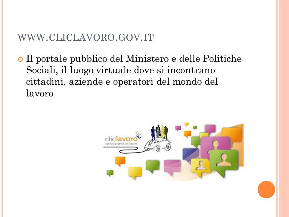 WWW. CLICLAVORO. GOV. IT Il portale pubblico del Ministero e delle Politiche Sociali, il luogo virtuale dove si incontrano cittadini, aziende e operat