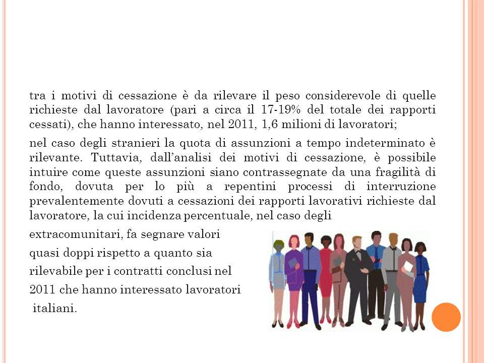 tra i motivi di cessazione è da rilevare il peso considerevole di quelle richieste dal lavoratore (pari a circa il 17-19% del totale dei rapporti cess