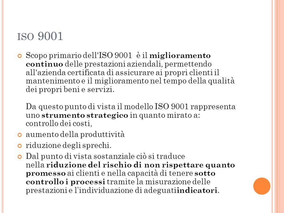 ISO 9001 Scopo primario dell'ISO 9001 è il miglioramento continuo delle prestazioni aziendali, permettendo all'azienda certificata di assicurare ai pr