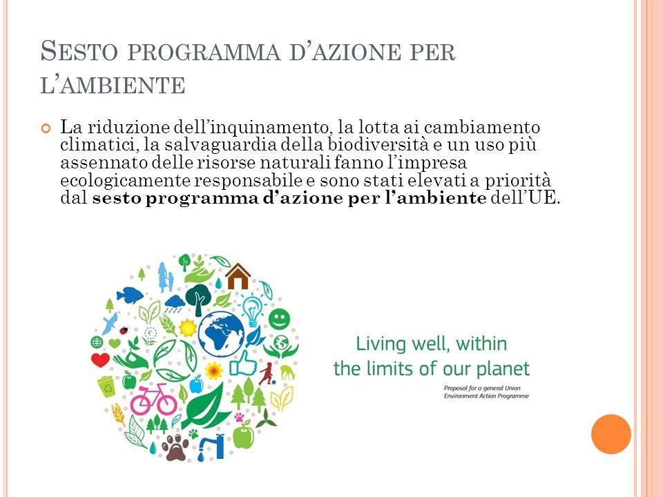S ESTO PROGRAMMA D AZIONE PER L AMBIENTE La riduzione dellinquinamento, la lotta ai cambiamento climatici, la salvaguardia della biodiversità e un uso