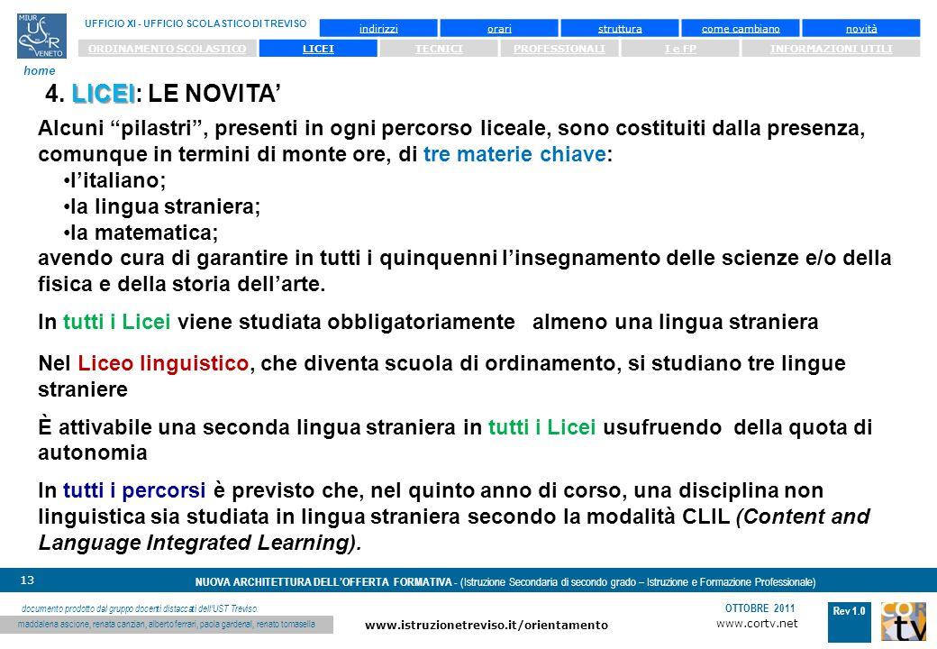 www.cortv.net www.istruzionetreviso.it/orientamento 13 Rev 1.0 OTTOBRE 2011 NUOVA ARCHITETTURA DELLOFFERTA FORMATIVA - (Istruzione Secondaria di secondo grado – Istruzione e Formazione Professionale) UFFICIO XI - UFFICIO SCOLASTICO DI TREVISO home documento prodotto dal gruppo docenti distaccati dellUST Treviso: maddalena ascione, renata canzian, alberto ferrari, paola gardenal, renato tomasella indirizzioraristrutturacome cambianonovità ORDINAMENTO SCOLASTICOLICEITECNICIPROFESSIONALII e FPINFORMAZIONI UTILI Alcuni pilastri, presenti in ogni percorso liceale, sono costituiti dalla presenza, comunque in termini di monte ore, di tre materie chiave: litaliano; la lingua straniera; la matematica; avendo cura di garantire in tutti i quinquenni linsegnamento delle scienze e/o della fisica e della storia dellarte.