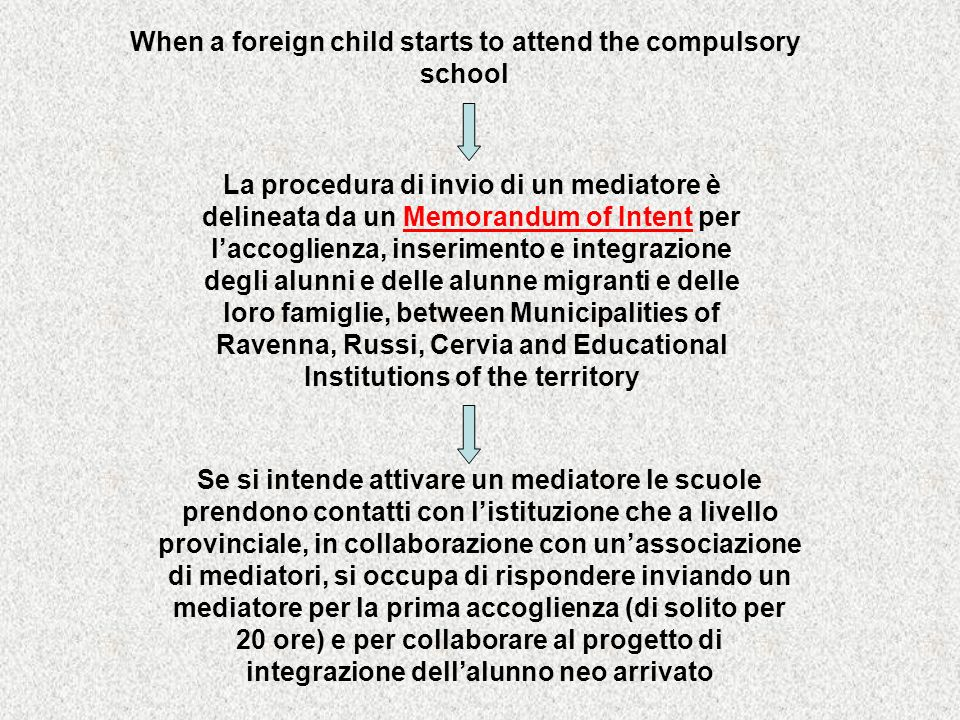 When a foreign child starts to attend the compulsory school La procedura di invio di un mediatore è delineata da un Memorandum of Intent per laccoglie