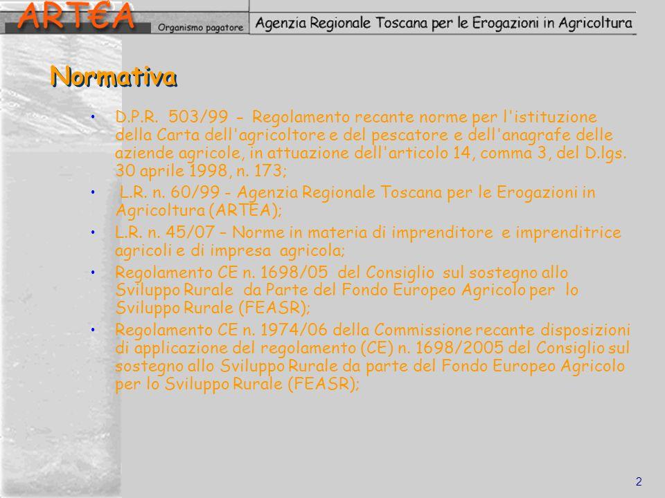 2 Normativa D.P.R. 503/99 - Regolamento recante norme per l'istituzione della Carta dell'agricoltore e del pescatore e dell'anagrafe delle aziende agr