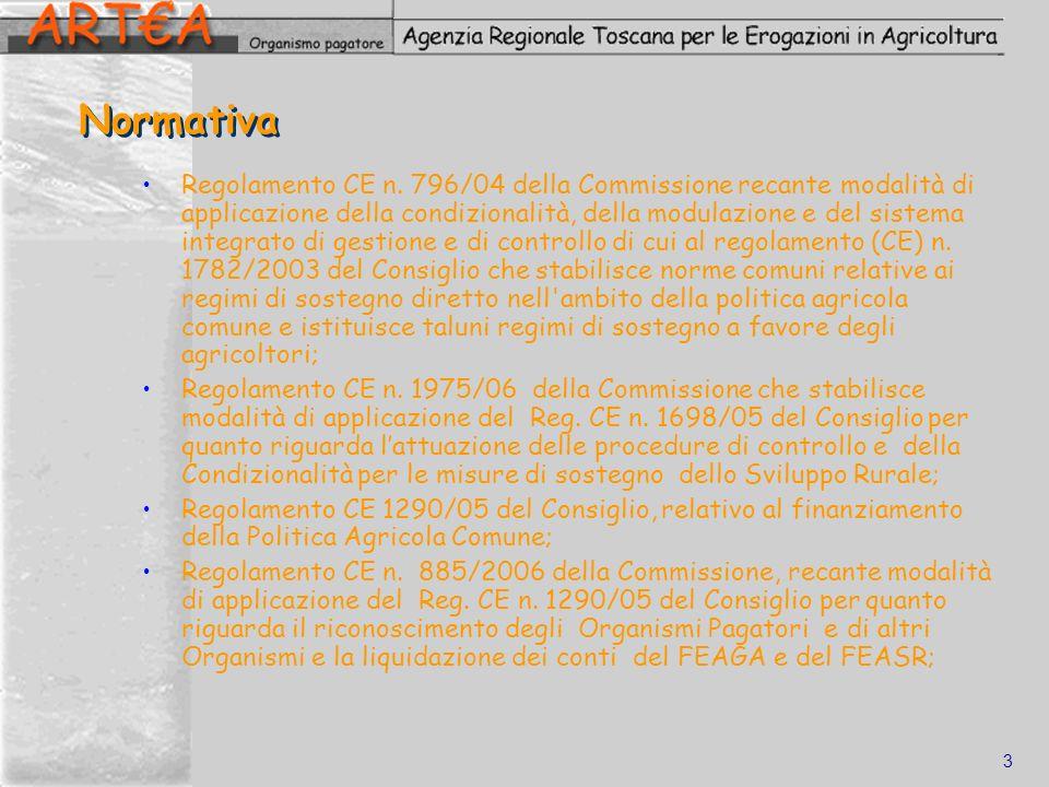 3 Normativa Regolamento CE n. 796/04 della Commissione recante modalità di applicazione della condizionalità, della modulazione e del sistema integrat