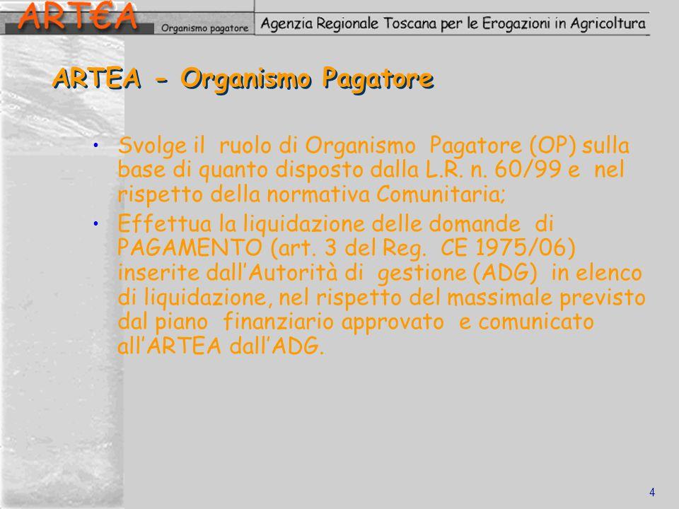 4 ARTEA - Organismo Pagatore Svolge il ruolo di Organismo Pagatore (OP) sulla base di quanto disposto dalla L.R. n. 60/99 e nel rispetto della normati
