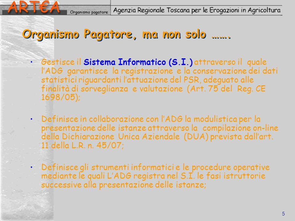 5 Organismo Pagatore, ma non solo ……. Gestisce il Sistema Informatico (S.I.) attraverso il quale lADG garantisce la registrazione e la conservazione d