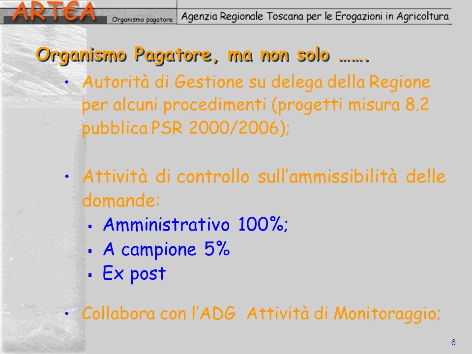 6 Organismo Pagatore, ma non solo ……. Autorità di Gestione su delega della Regione per alcuni procedimenti (progetti misura 8.2 pubblica PSR 2000/2006