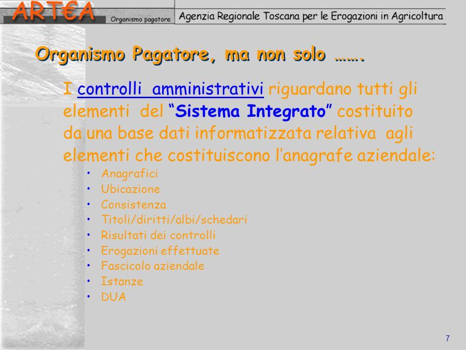7 Organismo Pagatore, ma non solo ……. I controlli amministrativi riguardano tutti gli elementi del Sistema Integrato costituito da una base dati infor