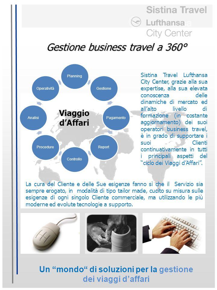 Un mondo di soluzioni per la gestione dei viaggi daffari Viaggio dAffari Gestione business travel a 360° Sistina Travel Lufthansa City Center, grazie