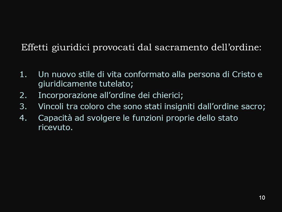 Effetti giuridici provocati dal sacramento dellordine: 1.Un nuovo stile di vita conformato alla persona di Cristo e giuridicamente tutelato; 2.Incorpo