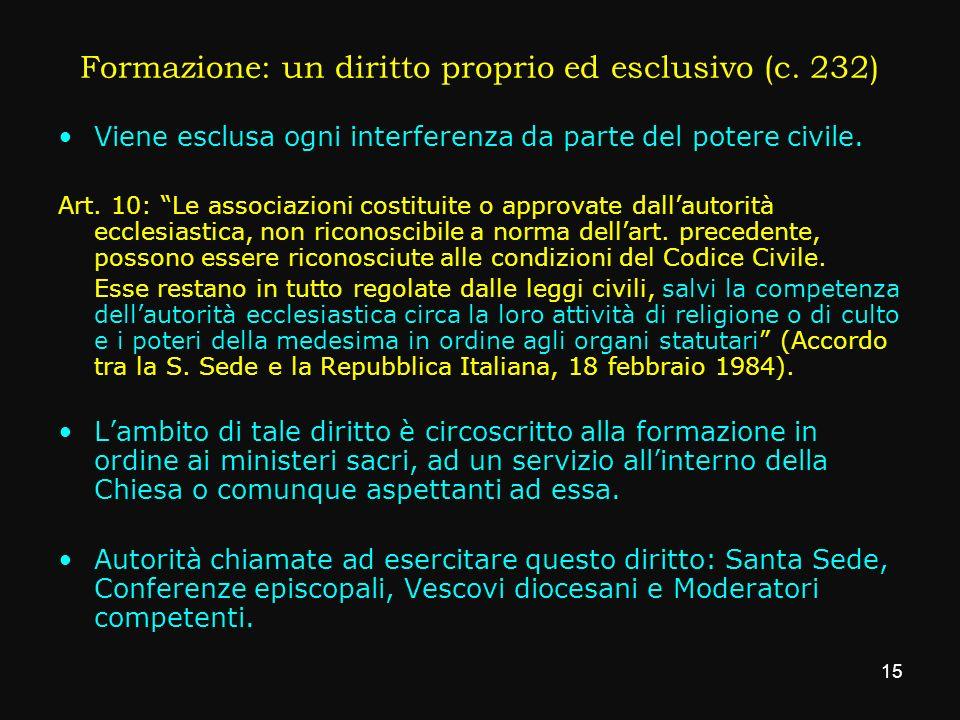 Formazione: un diritto proprio ed esclusivo (c. 232) Viene esclusa ogni interferenza da parte del potere civile. Art. 10: Le associazioni costituite o