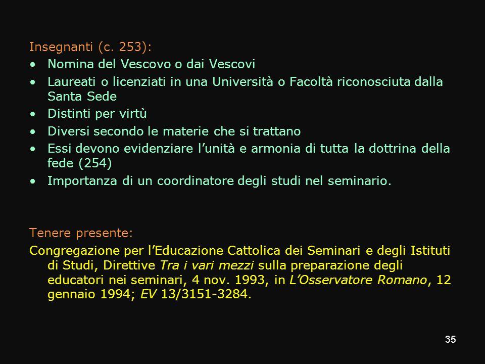 Insegnanti (c. 253): Nomina del Vescovo o dai Vescovi Laureati o licenziati in una Università o Facoltà riconosciuta dalla Santa Sede Distinti per vir
