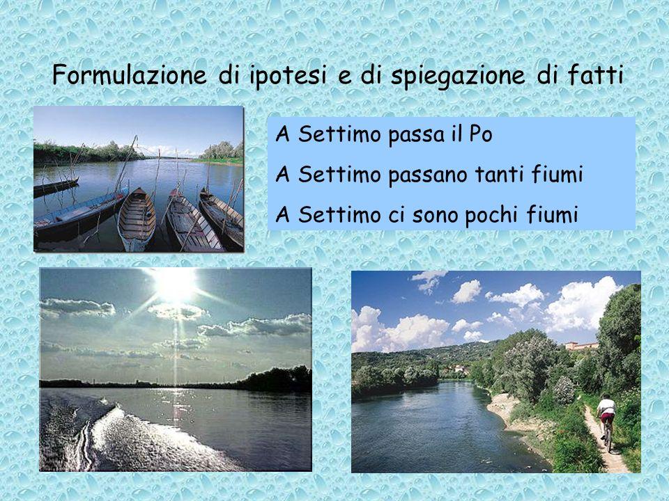 Formulazione di ipotesi e di spiegazione di fatti A Settimo passa il Po A Settimo passano tanti fiumi A Settimo ci sono pochi fiumi