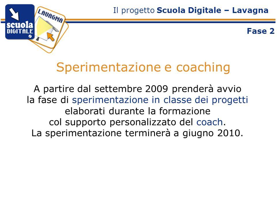 Sperimentazione e coaching A partire dal settembre 2009 prenderà avvio la fase di sperimentazione in classe dei progetti elaborati durante la formazione col supporto personalizzato del coach.
