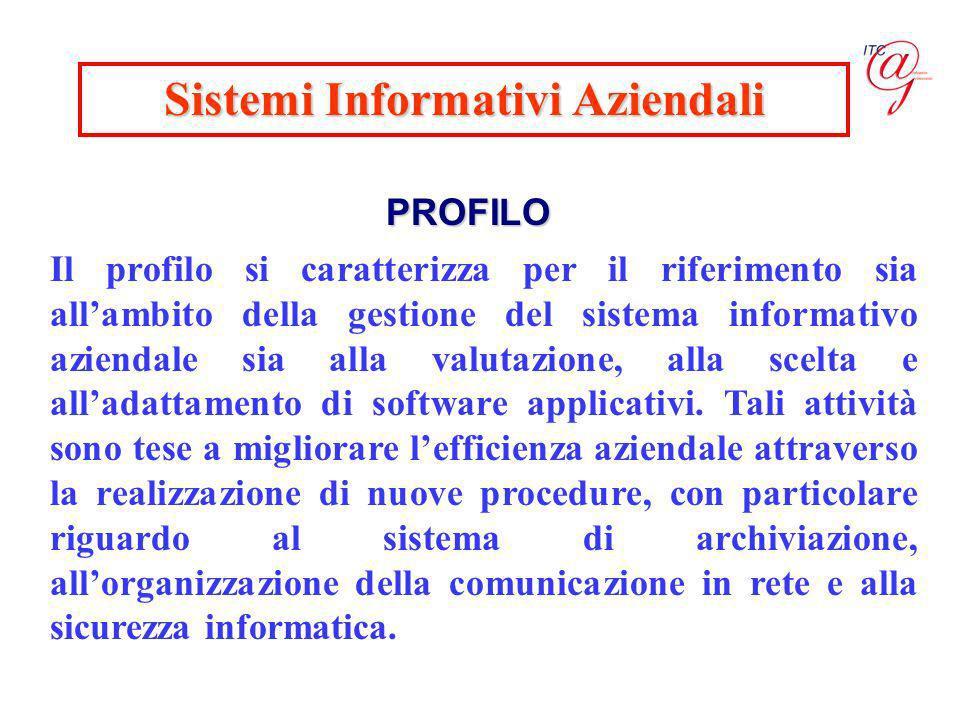 Sistemi Informativi Aziendali PROFILO Il profilo si caratterizza per il riferimento sia allambito della gestione del sistema informativo aziendale sia