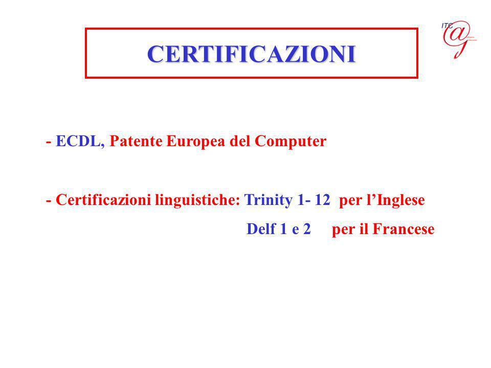 - ECDL, Patente Europea del Computer - Certificazioni linguistiche: Trinity 1- 12 per lInglese Delf 1 e 2 per il Francese CERTIFICAZIONI