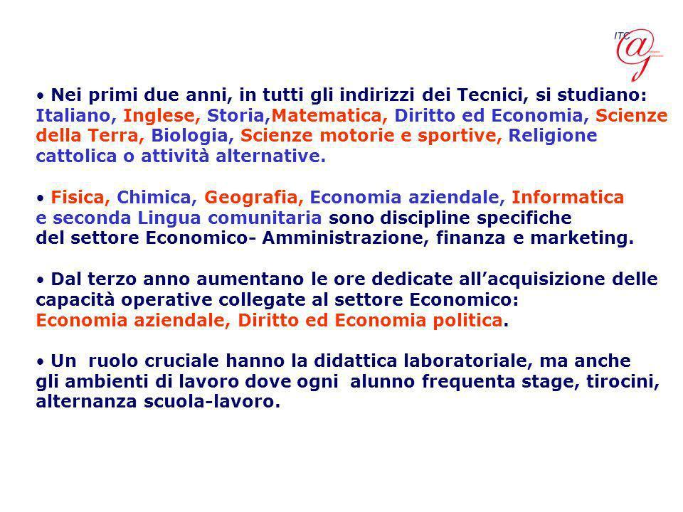 Nei primi due anni, in tutti gli indirizzi dei Tecnici, si studiano: Italiano, Inglese, Storia,Matematica, Diritto ed Economia, Scienze della Terra, B