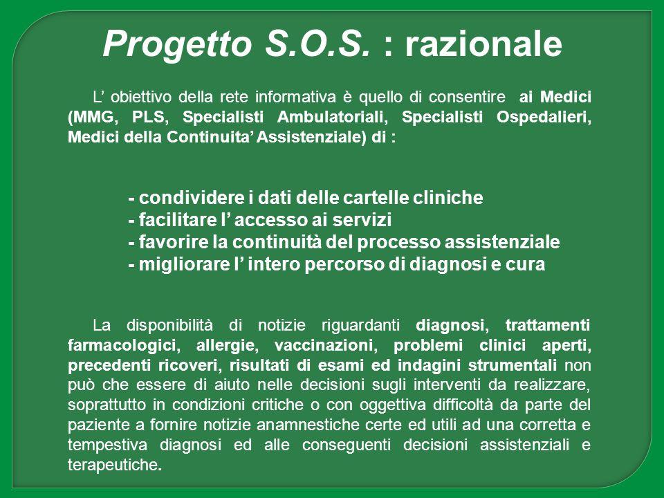 L obiettivo della rete informativa è quello di consentire ai Medici (MMG, PLS, Specialisti Ambulatoriali, Specialisti Ospedalieri, Medici della Contin