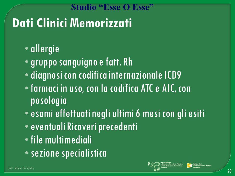 allergie gruppo sanguigno e fatt. Rh diagnosi con codifica internazionale ICD9 farmaci in uso, con la codifica ATC e AIC, con posologia esami effettua