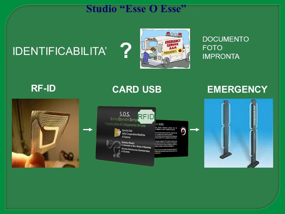 RFID RF-ID CARD USBEMERGENCY ? Studio Esse O Esse IDENTIFICABILITA DOCUMENTO FOTO IMPRONTA
