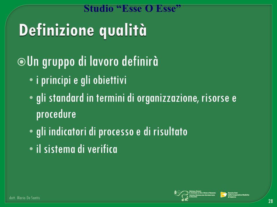 Un gruppo di lavoro definirà i principi e gli obiettivi gli standard in termini di organizzazione, risorse e procedure gli indicatori di processo e di
