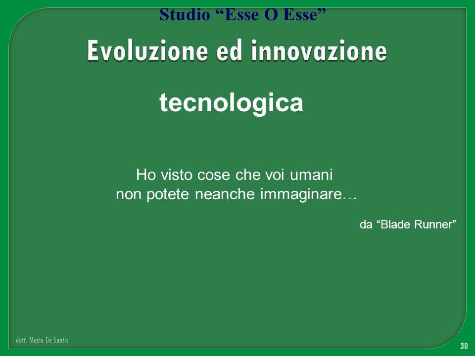 30 dott. Mario De Santis Studio Esse O Esse tecnologica Ho visto cose che voi umani non potete neanche immaginare… da Blade Runner
