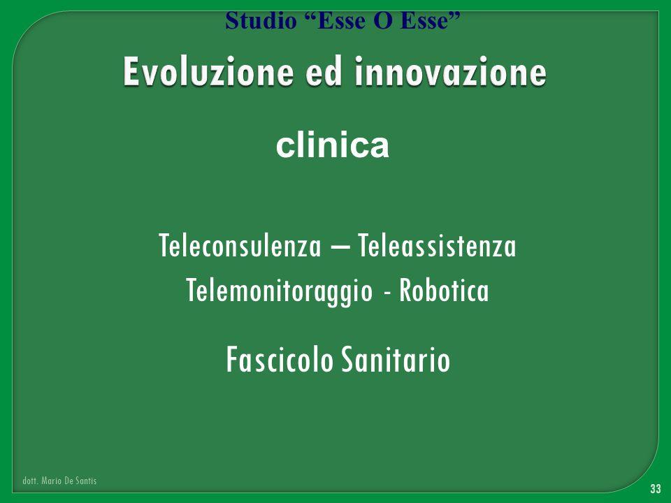 33 dott. Mario De Santis Studio Esse O Esse clinica Teleconsulenza – Teleassistenza Telemonitoraggio - Robotica Fascicolo Sanitario