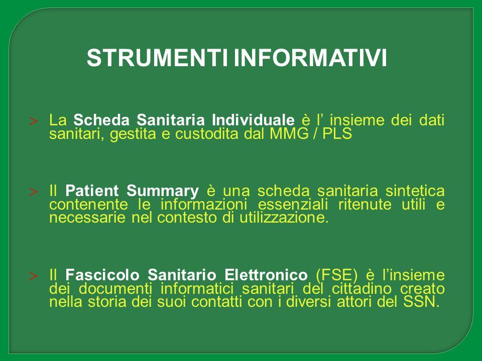 STRUMENTI INFORMATIVI La Scheda Sanitaria Individuale è l insieme dei dati sanitari, gestita e custodita dal MMG / PLS Il Patient Summary è una scheda