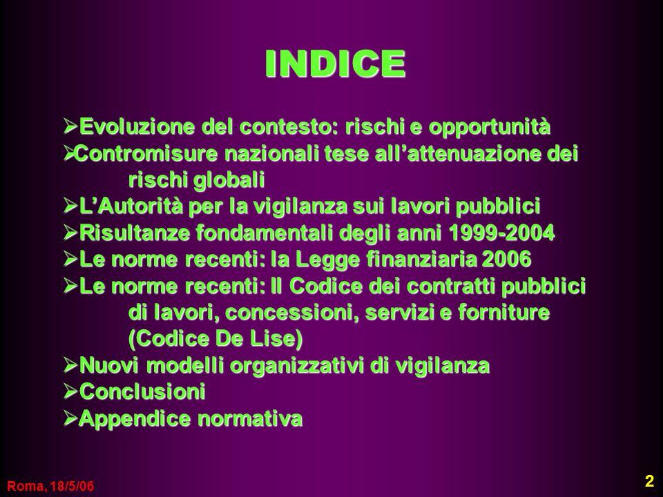 Roma, 18/5/06 INDICE Evoluzione del contesto: rischi e opportunità Evoluzione del contesto: rischi e opportunità Contromisure nazionali tese allattenu