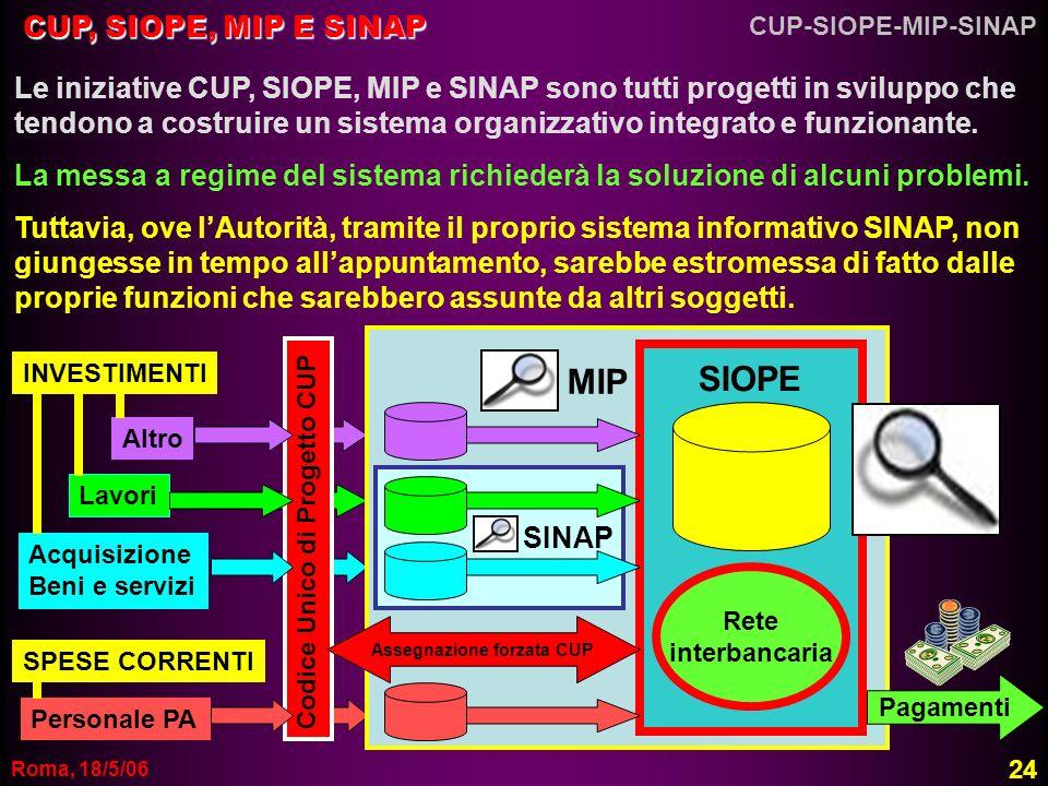 Roma, 18/5/06 SINAP CUP, SIOPE, MIP E SINAP Le iniziative CUP, SIOPE, MIP e SINAP sono tutti progetti in sviluppo che tendono a costruire un sistema o
