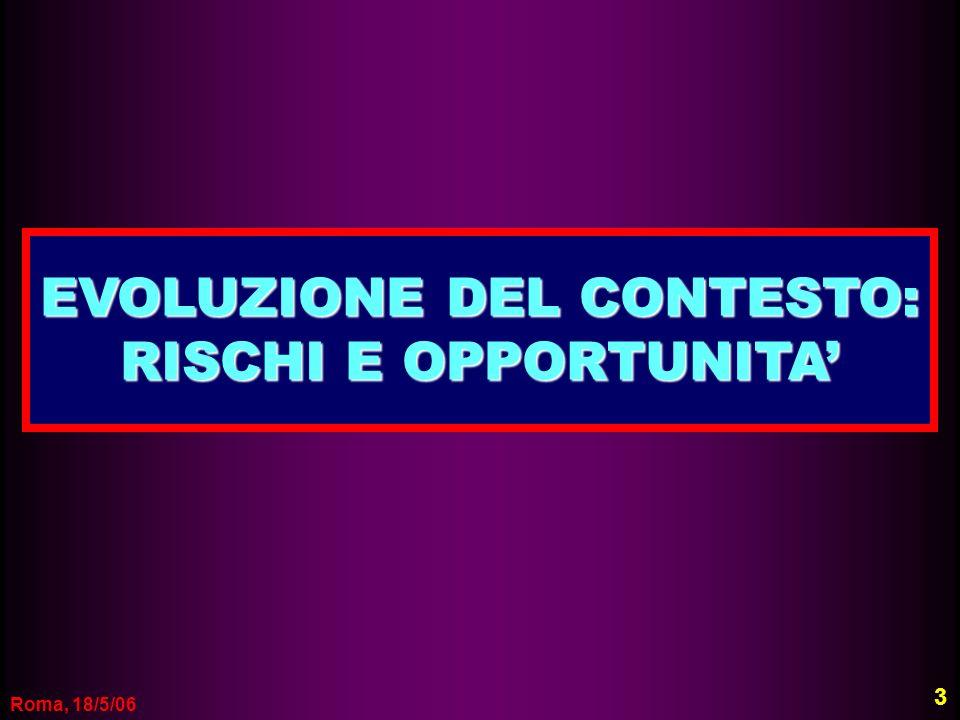 Roma, 18/5/06 EVOLUZIONE DEL CONTESTO: RISCHI E OPPORTUNITA 3