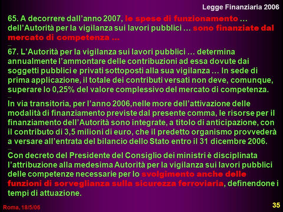 Roma, 18/5/06 Legge Finanziaria 2006 65. A decorrere dallanno 2007, le spese di funzionamento … dellAutorità per la vigilanza sui lavori pubblici … so