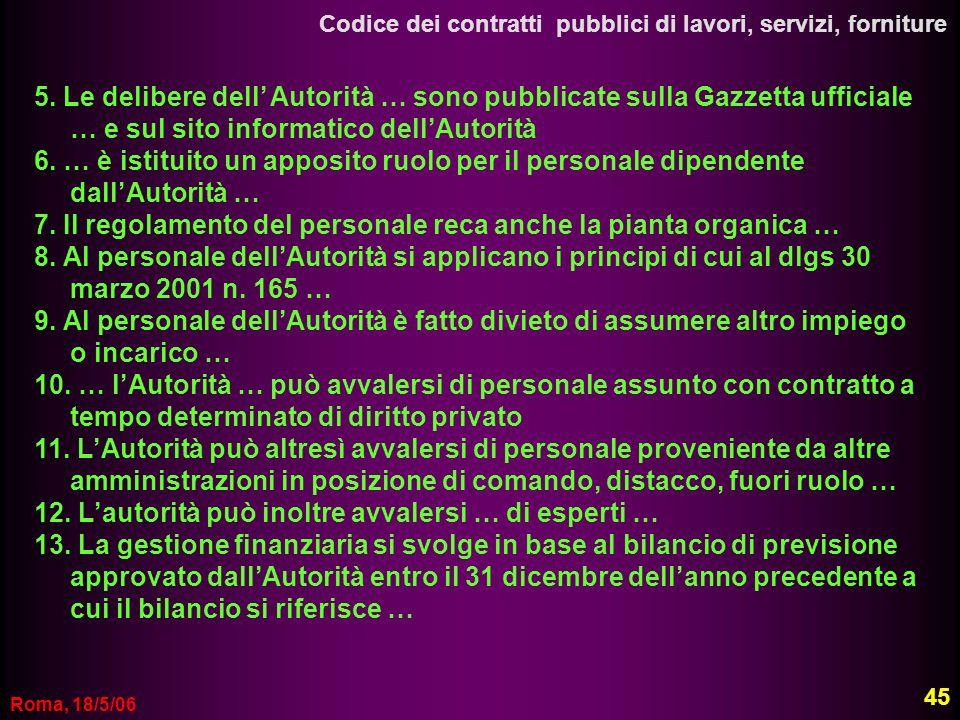 Roma, 18/5/06 Codice dei contratti pubblici di lavori, servizi, forniture 5. Le delibere dell Autorità … sono pubblicate sulla Gazzetta ufficiale … e