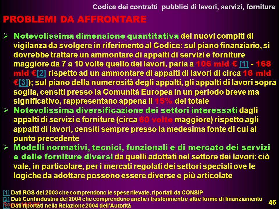 Roma, 18/5/06 Codice dei contratti pubblici di lavori, servizi, forniture 46 PROBLEMI DA AFFRONTARE Notevolissima dimensione quantitativa dei nuovi co