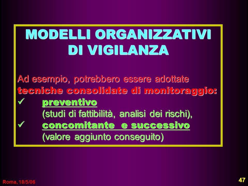 Roma, 18/5/06 MODELLI ORGANIZZATIVI DI VIGILANZA Ad esempio, potrebbero essere adottate tecniche consolidate di monitoraggio: preventivo preventivo (s