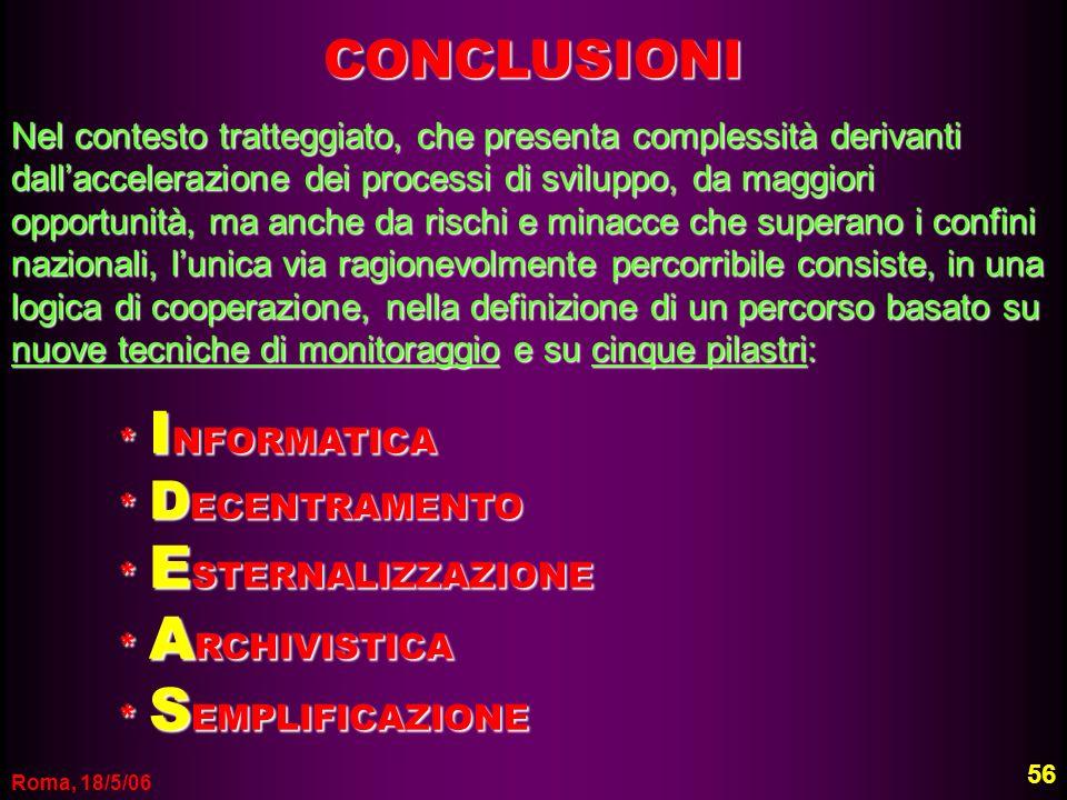 Roma, 18/5/06 56 CONCLUSIONI Nel contesto tratteggiato, che presenta complessità derivanti dallaccelerazione dei processi di sviluppo, da maggiori opp