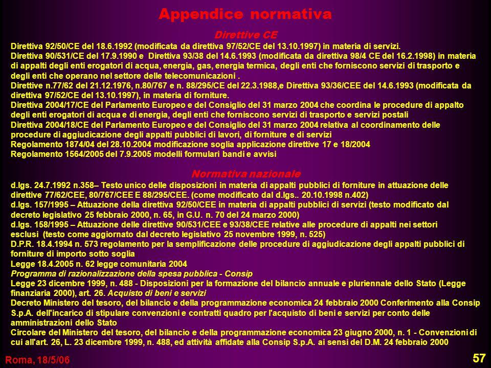 Roma, 18/5/06 Appendice normativa Direttive CE Direttiva 92/50/CE del 18.6.1992 (modificata da direttiva 97/52/CE del 13.10.1997) in materia di serviz